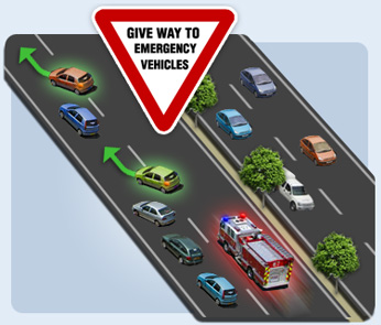 Give way to emergency vehicles